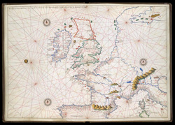 Portolan Chart of Western Europe Showing the British Isles(001ADD000019927U00007000)